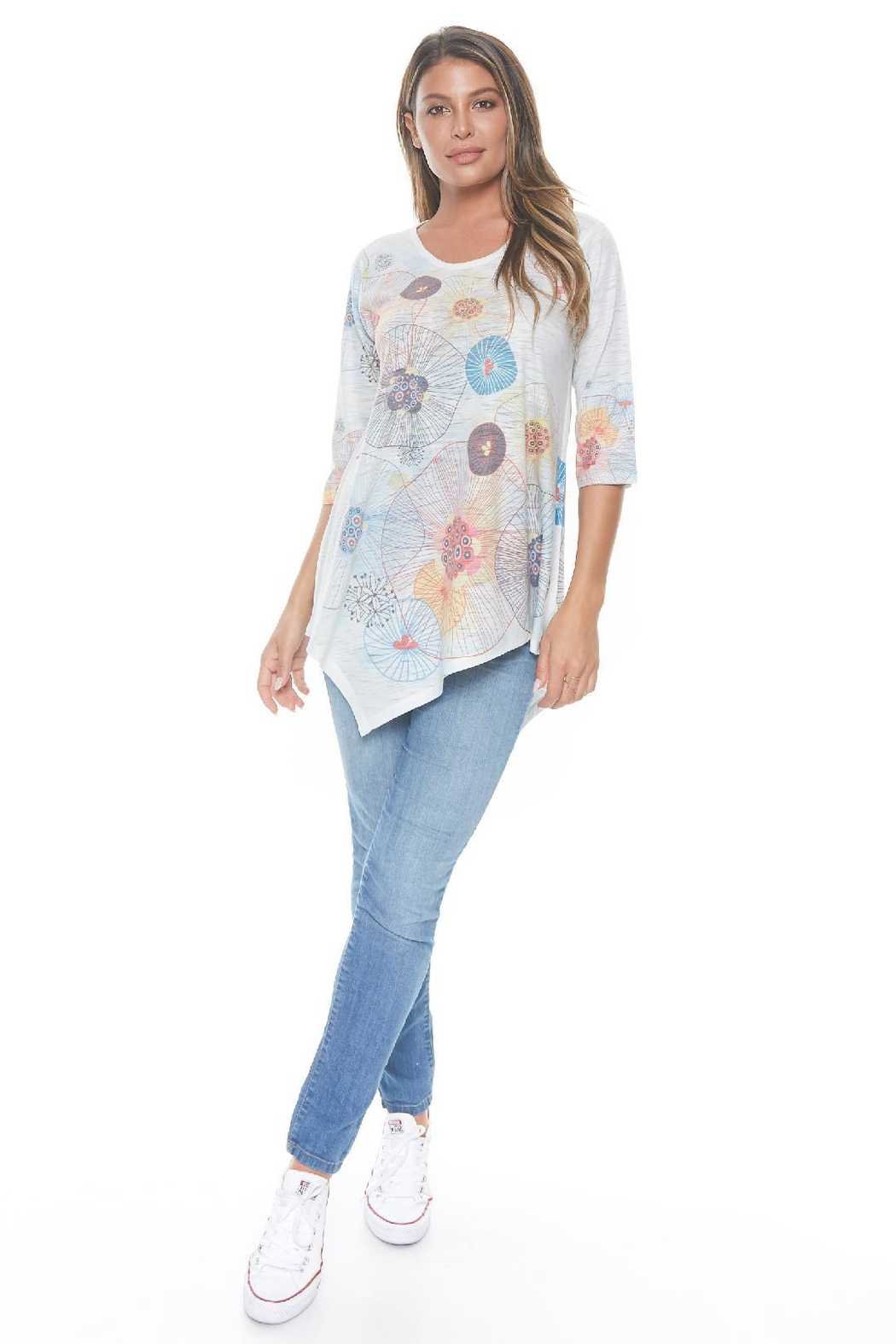 Inoah Lovebirds Asymmetrical Tunic - Front Cropped Image