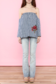 Lovely Day Gingham Off The Shoulder Top - Front full body