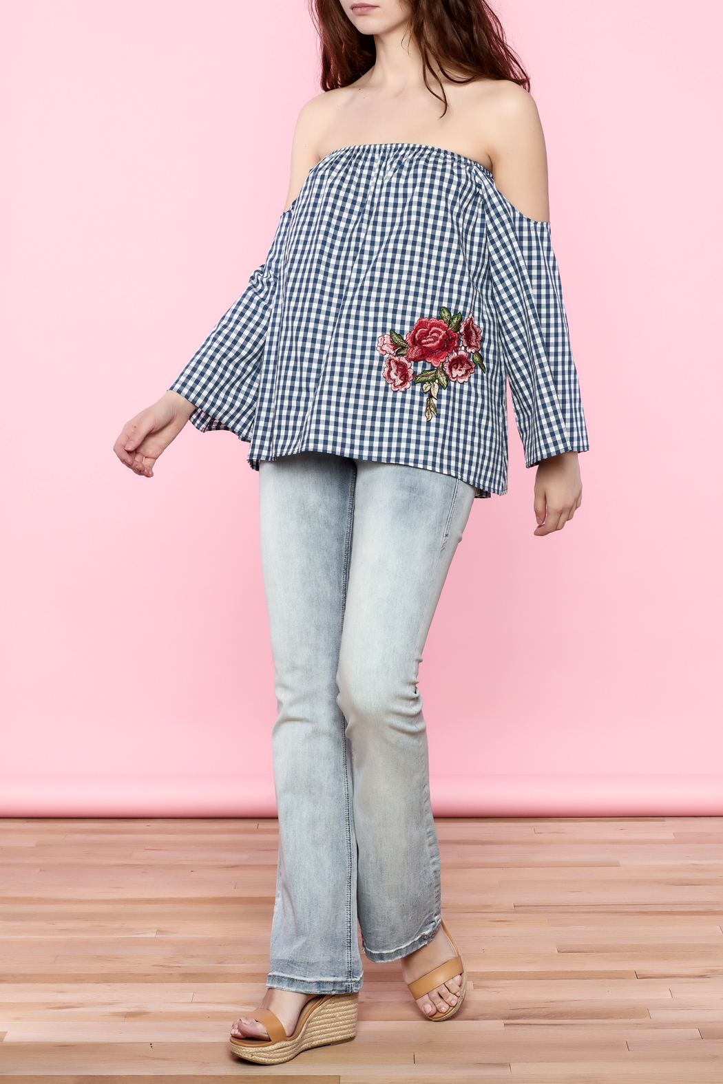 Lovely Day Gingham Off The Shoulder Top - Side Cropped Image