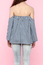 Lovely Day Gingham Off The Shoulder Top - Back cropped