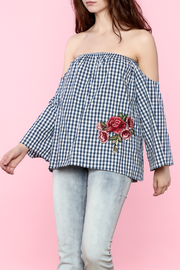 Lovely Day Gingham Off The Shoulder Top - Front cropped