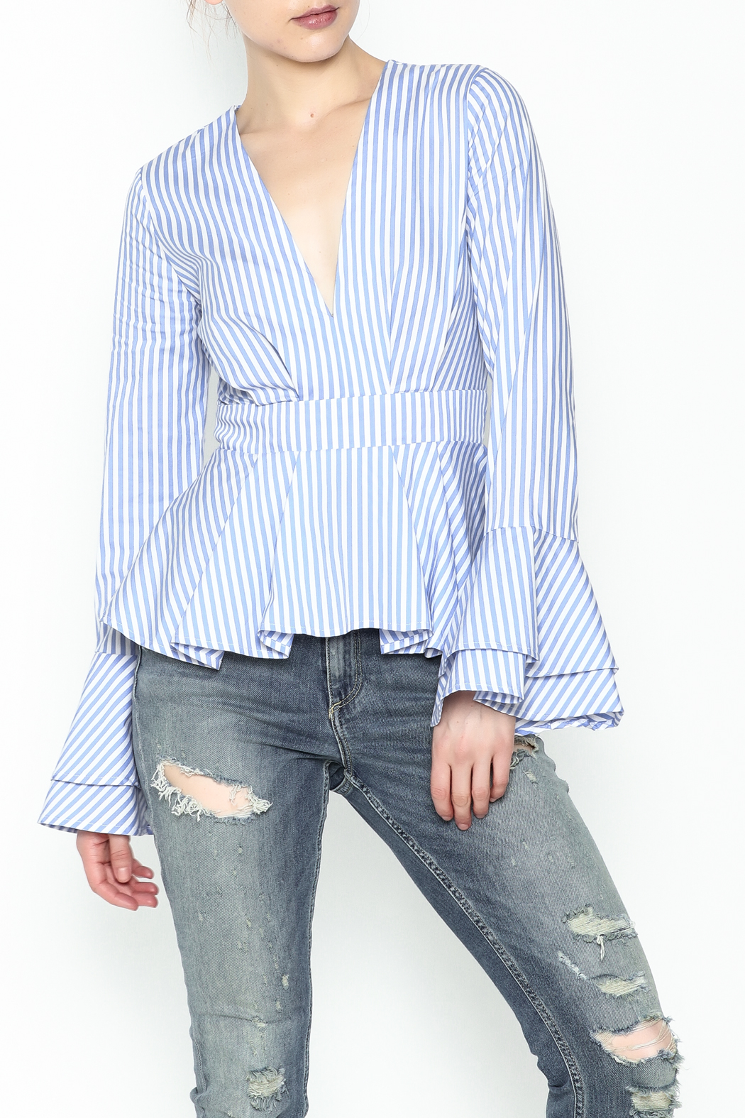 Lovely Day Long Sleeve Stripe Blouse - Main Image