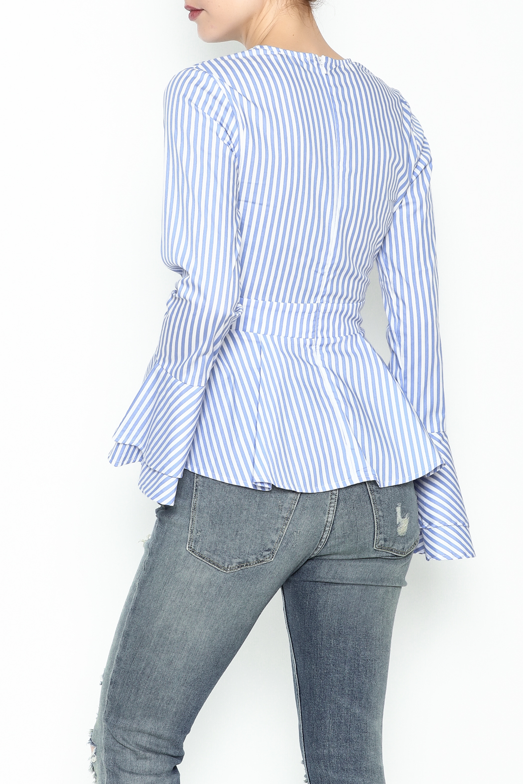 Lovely Day Long Sleeve Stripe Blouse - Back Cropped Image