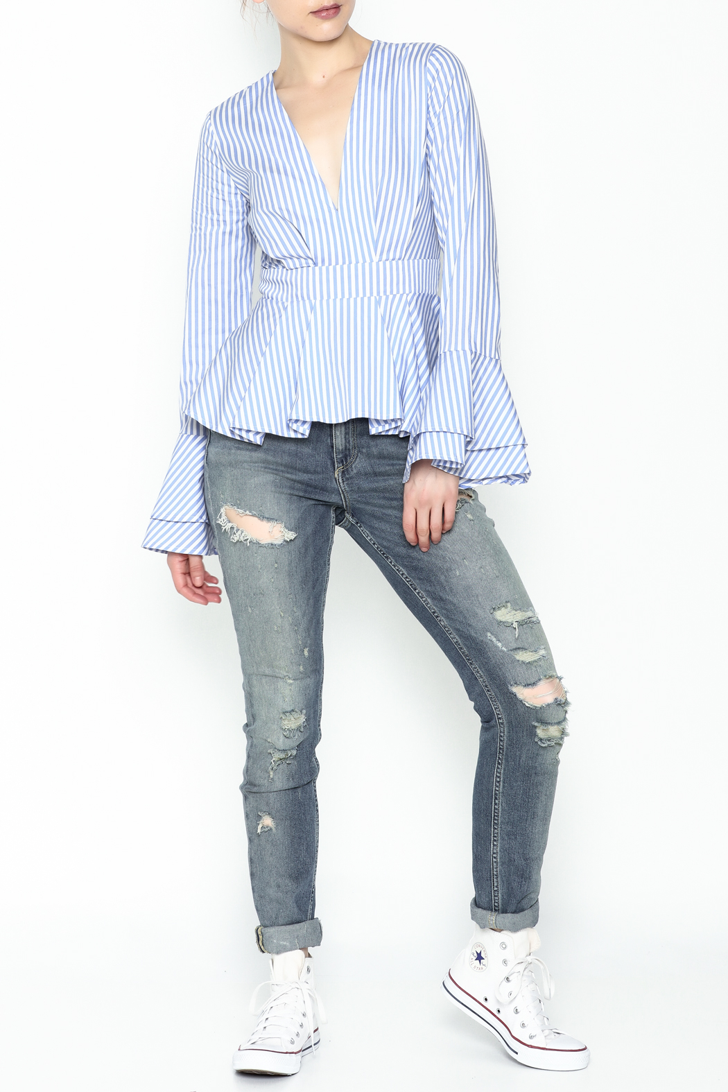 Lovely Day Long Sleeve Stripe Blouse - Side Cropped Image