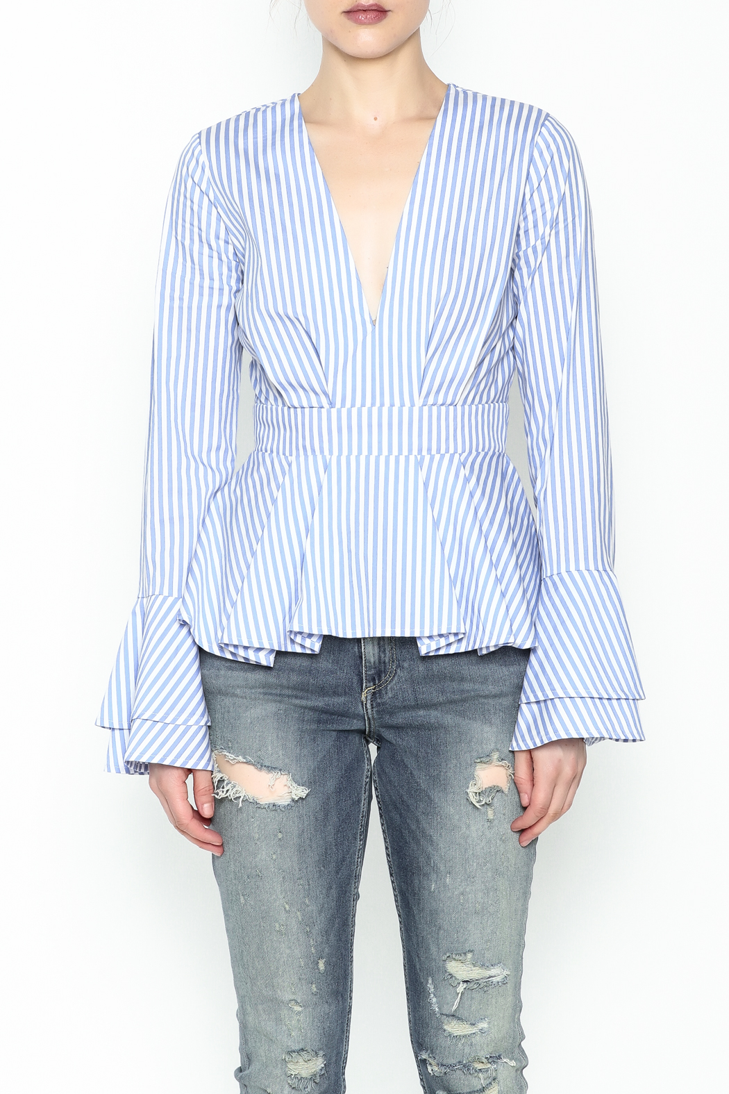 Lovely Day Long Sleeve Stripe Blouse - Front Full Image