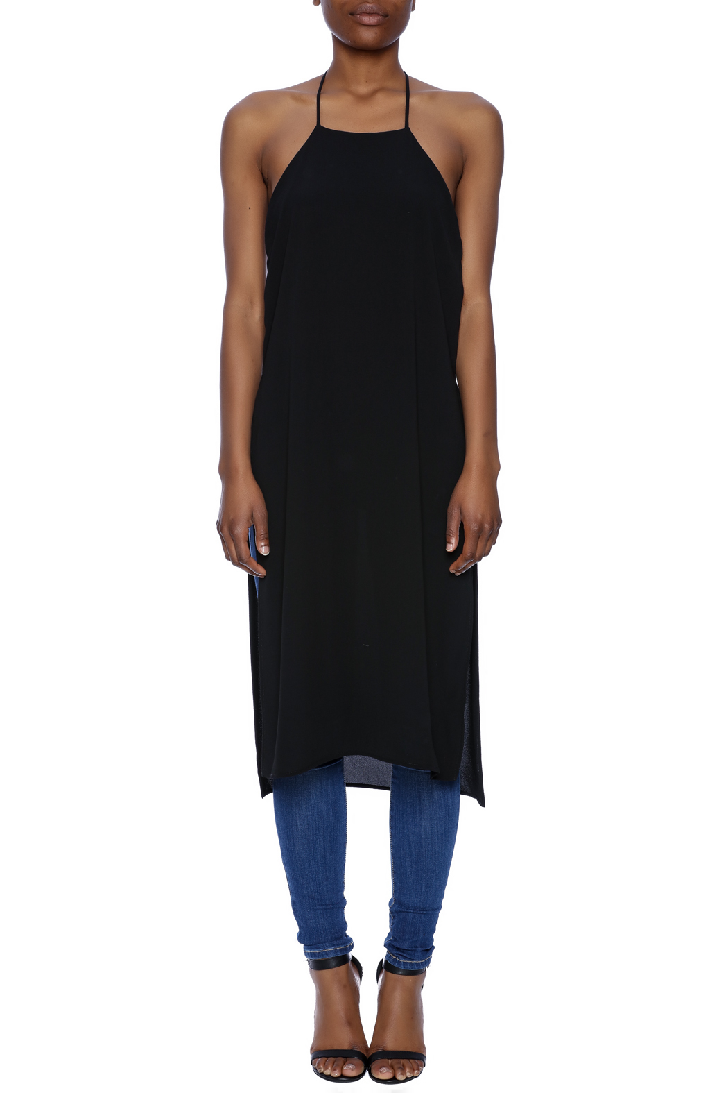 Lovely Day Sheer Black Long Tunic - Front Cropped Image