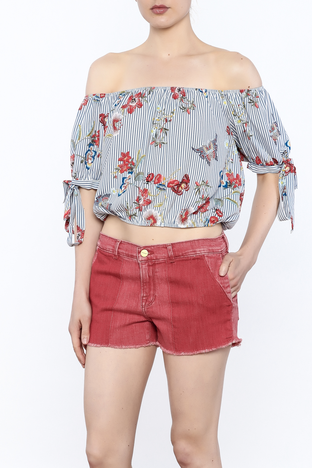 Lovely Day Stripe Print Top - Front Cropped Image