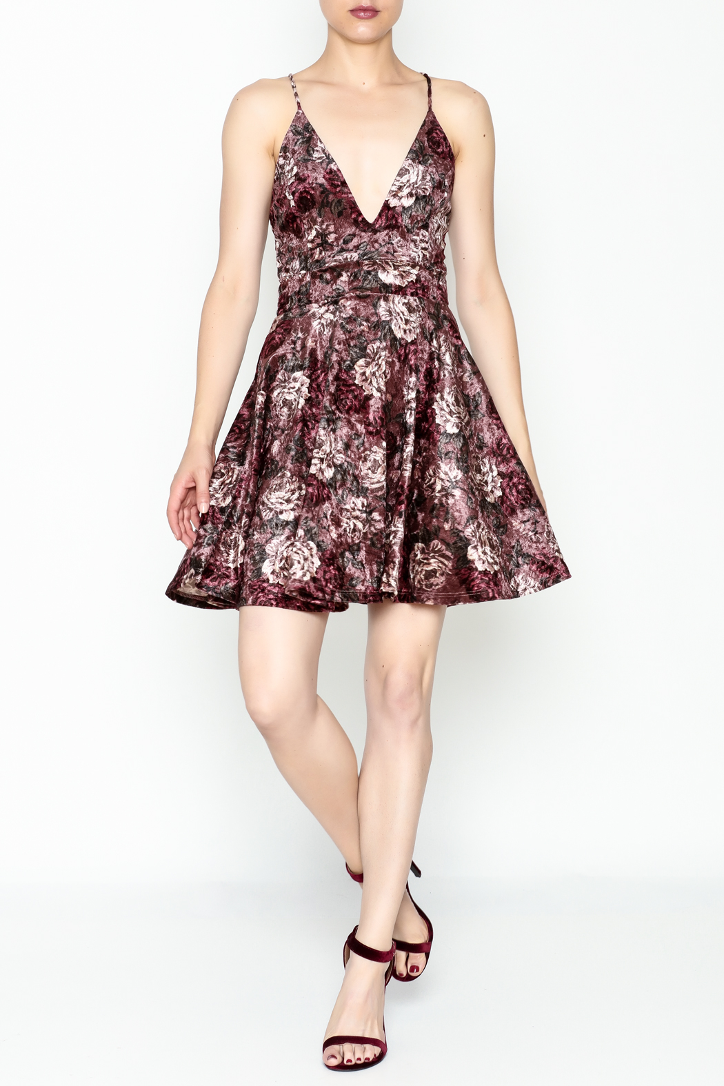Lovely Day Velvet Floral Dress - Side Cropped Image