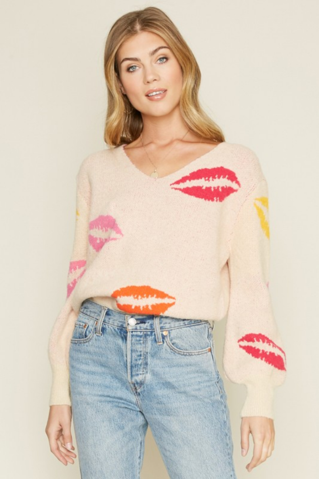 Dee Elly Lovely Lips Sweater - Front Cropped Image