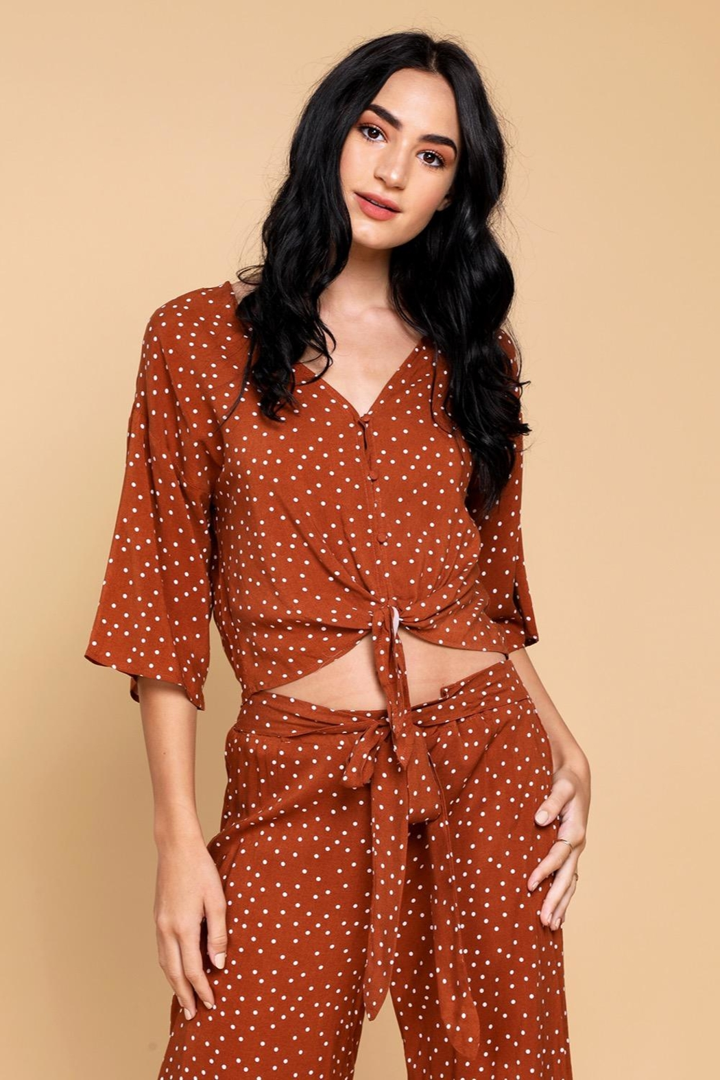 Mine Lovely Polka-Dots Top - Front Cropped Image
