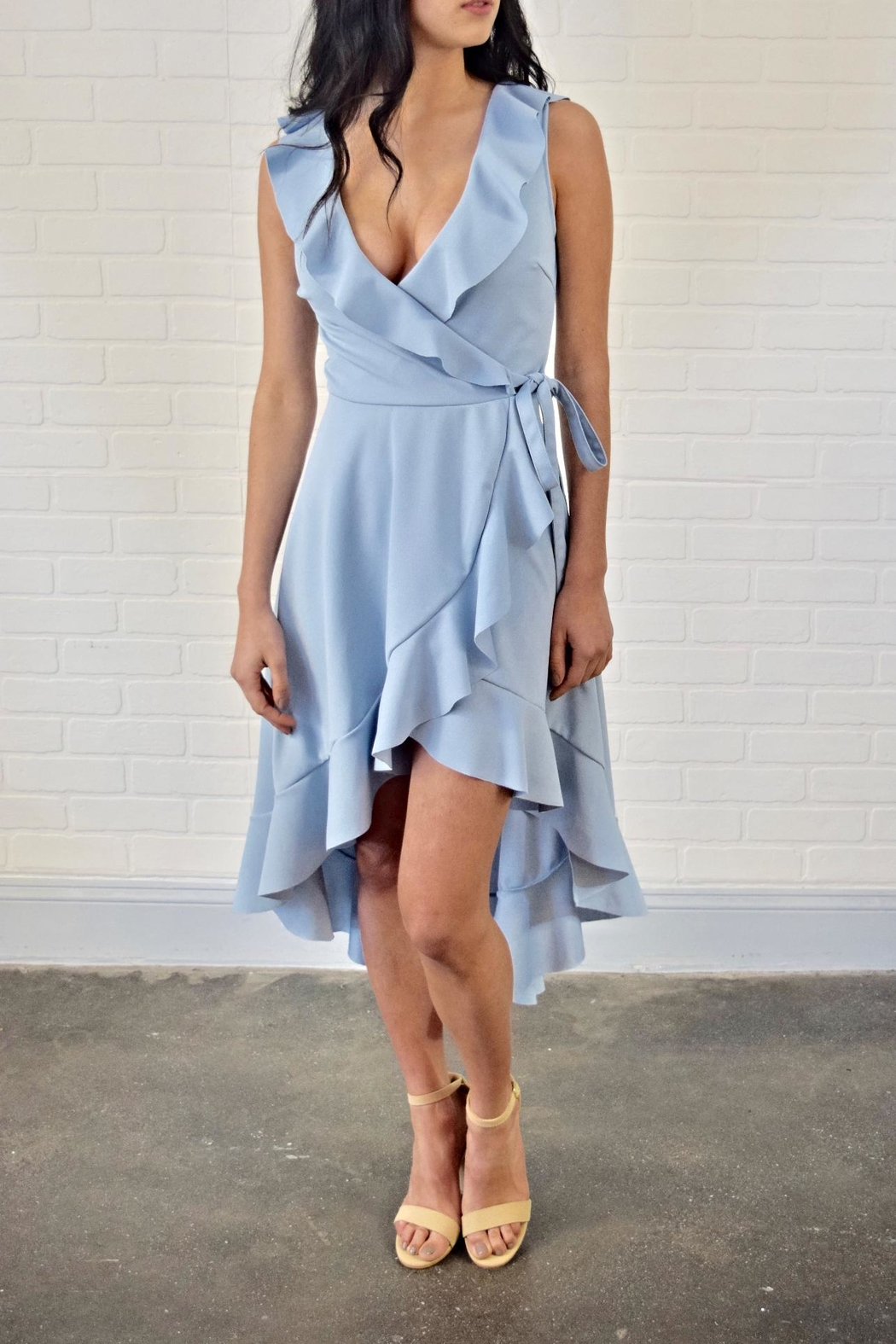 Lovely Day Ruffle Wrap Dress - Front Full Image