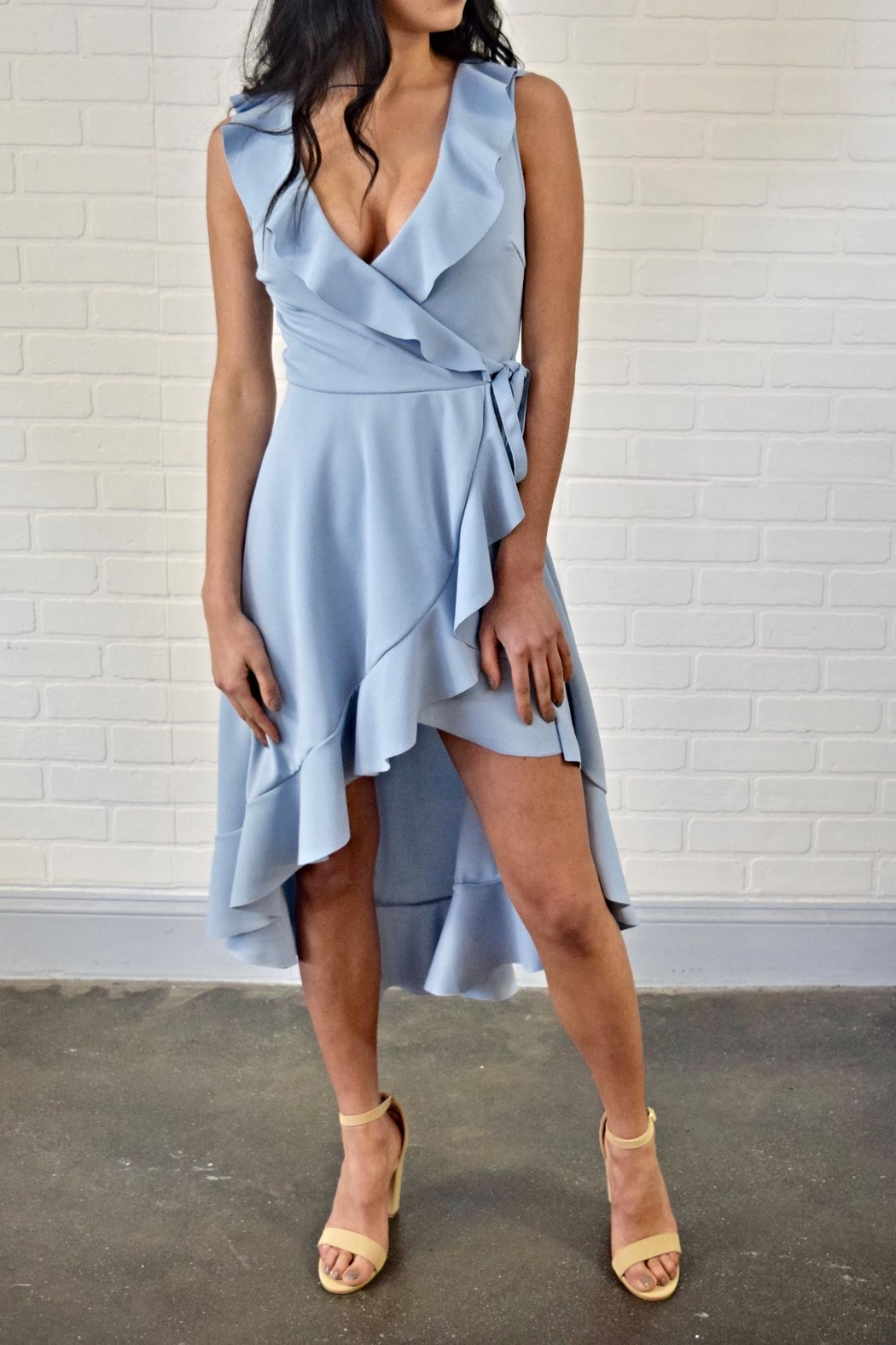 Lovely Day Ruffle Wrap Dress - Front Cropped Image