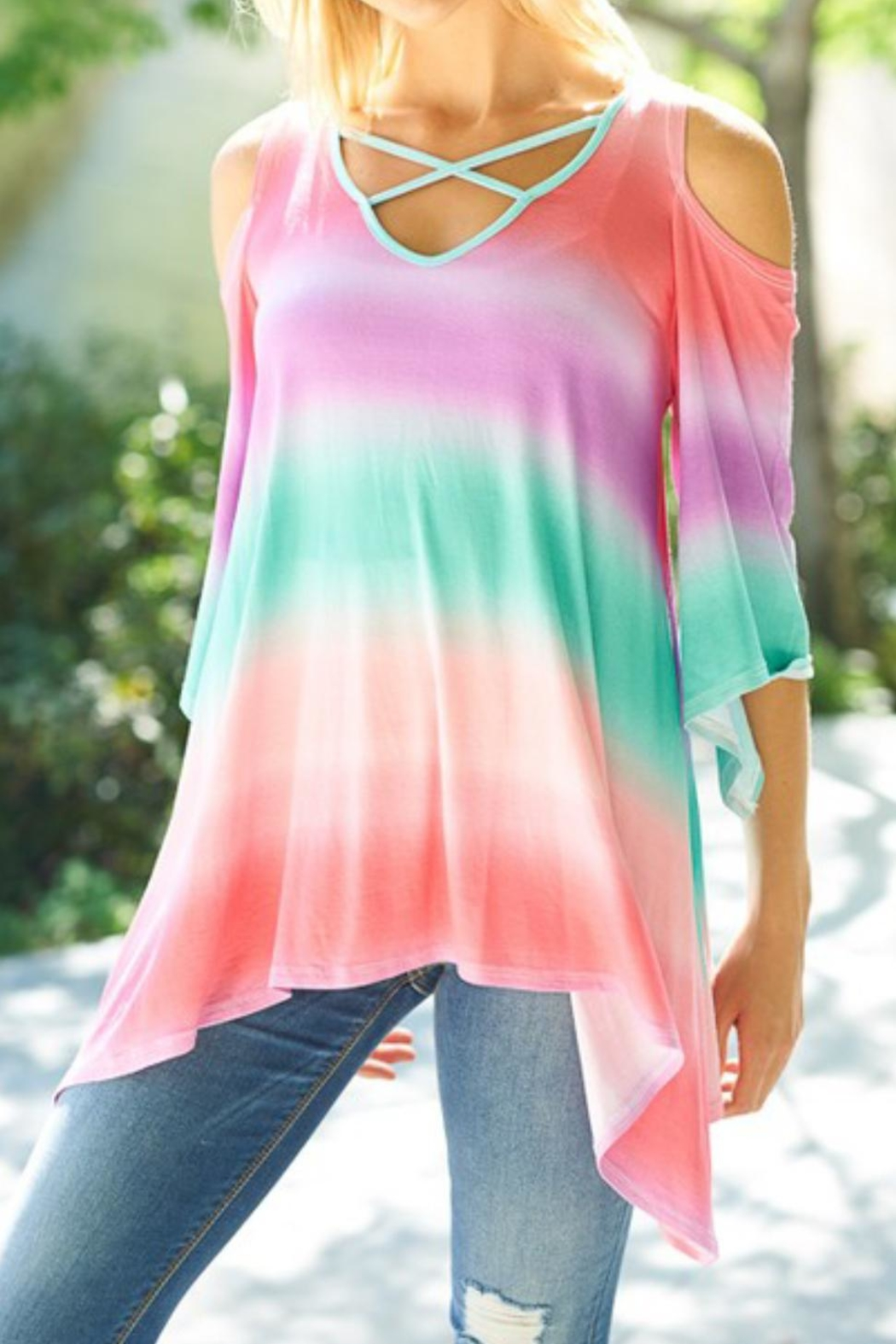 Lovely J Rainbow Top - Front Full Image