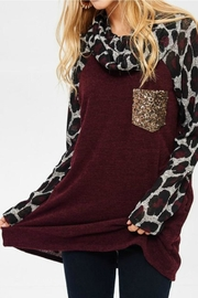 Lovely J Leopard Cowl Neck - Front cropped