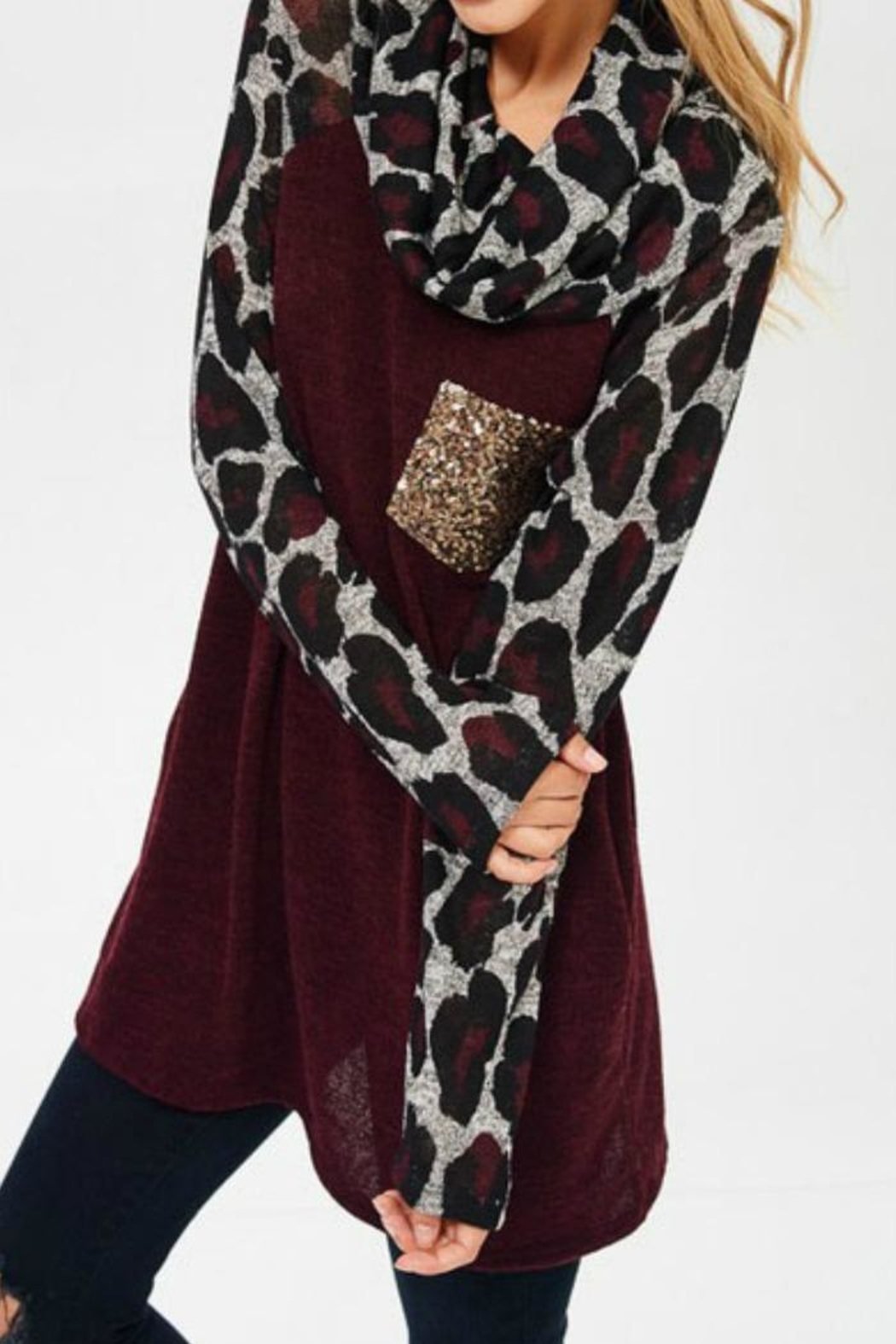 Lovely J Leopard Cowl Neck - Back Cropped Image