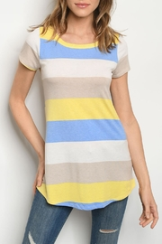 Lovely J Multi Stripe Top - Front cropped