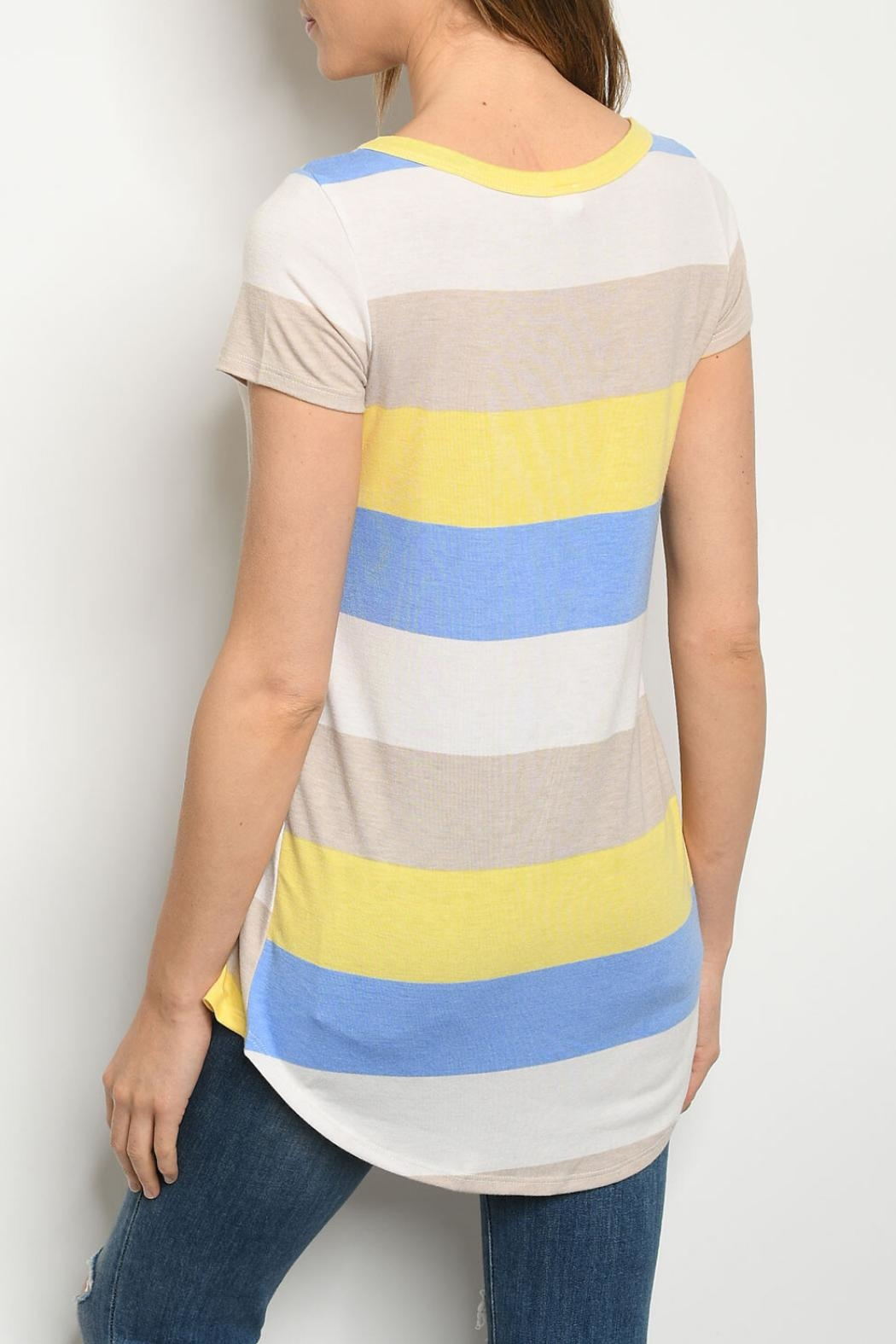 Lovely J Multi Stripe Top - Front Full Image