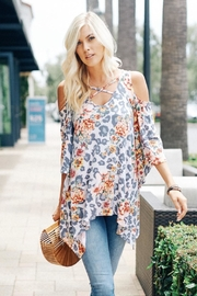 Lovely J Printed Cold Shoulder - Product Mini Image