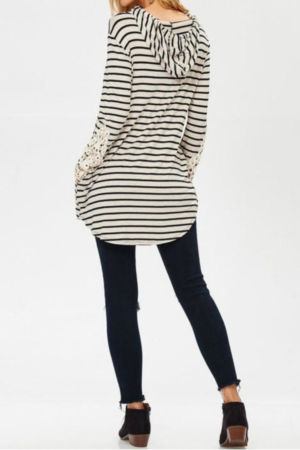 Lovely J Stripe Hoodie Top - Side Cropped Image