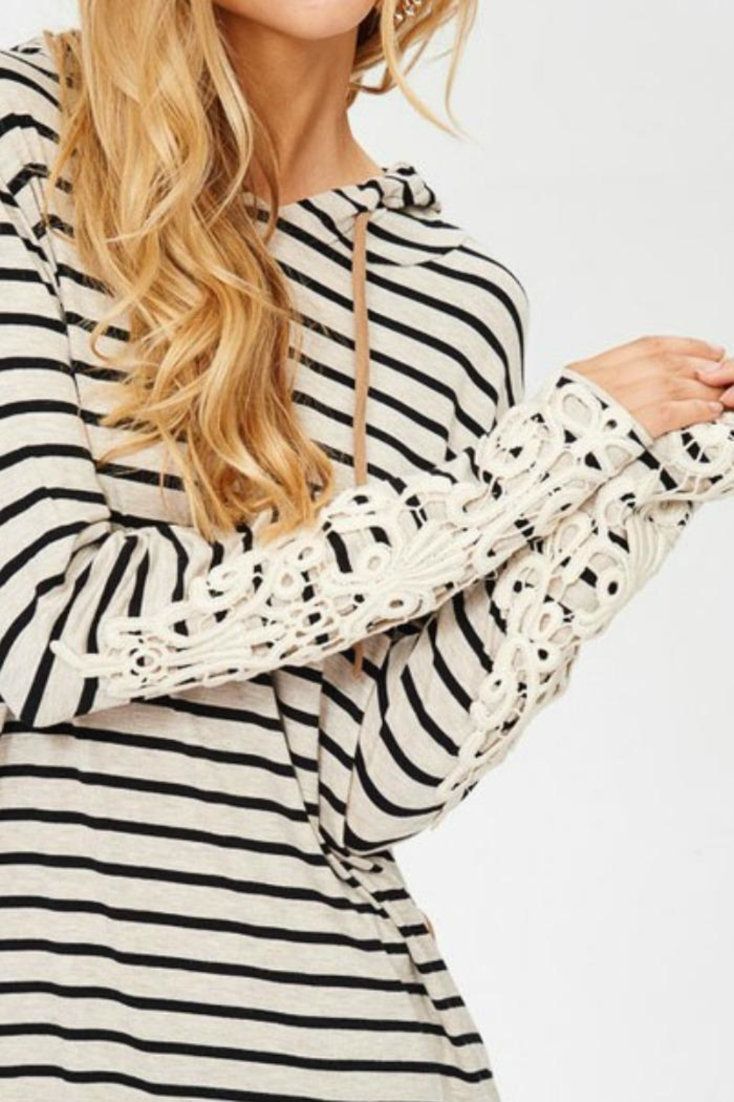 Lovely J Stripe Hoodie Top - Front Full Image