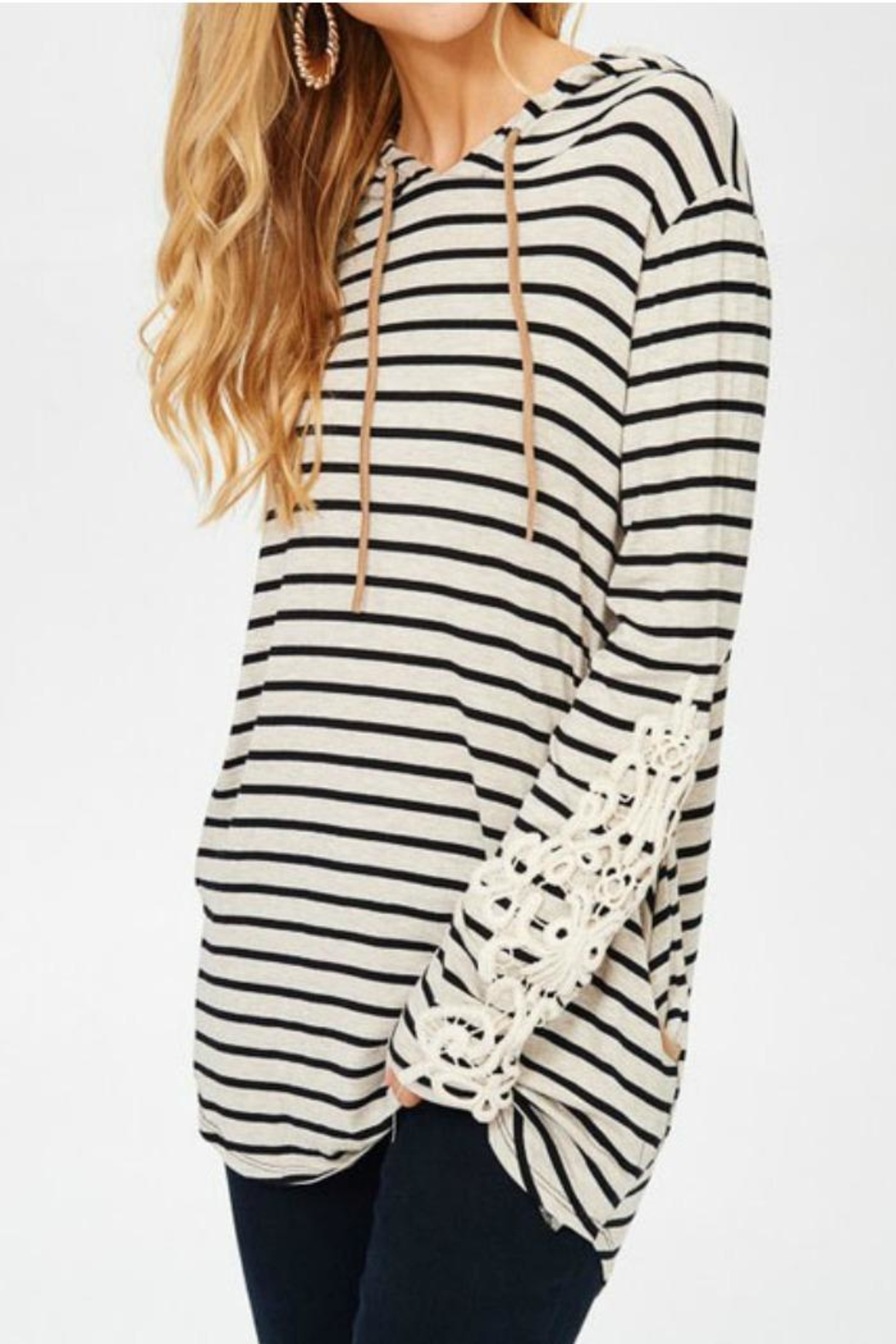 Lovely J Stripe Hoodie Top - Front Cropped Image