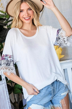 Lovely J Waffle-Knit-Top With Tie-Dye - Product List Image