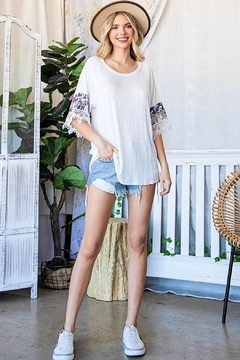 Lovely J Waffle-Knit-Top With Tie-Dye - Alternate List Image