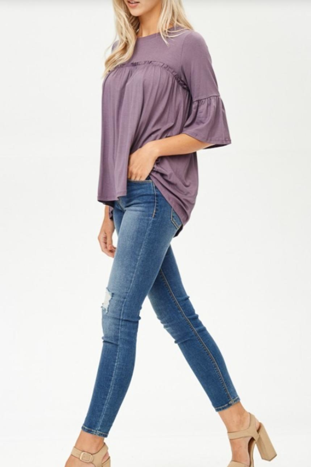 Lovely Melody 3/4 Sleeve Top - Side Cropped Image