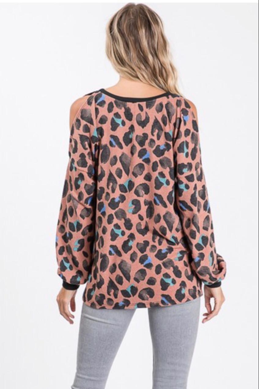 Lovely Melody Animal-Print Cold-Shoulder Top - Side Cropped Image