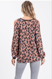 Lovely Melody Animal-Print Cold-Shoulder Top - Side cropped