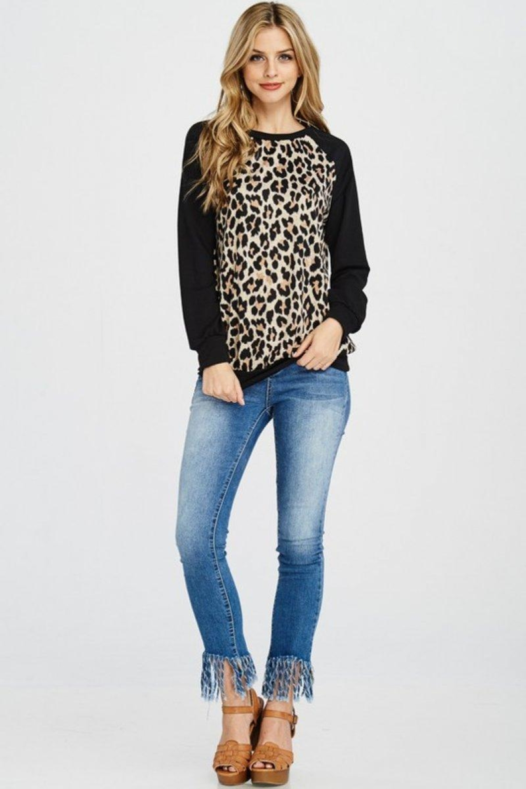 Lovely Melody Animal Print Sweater - Front Full Image