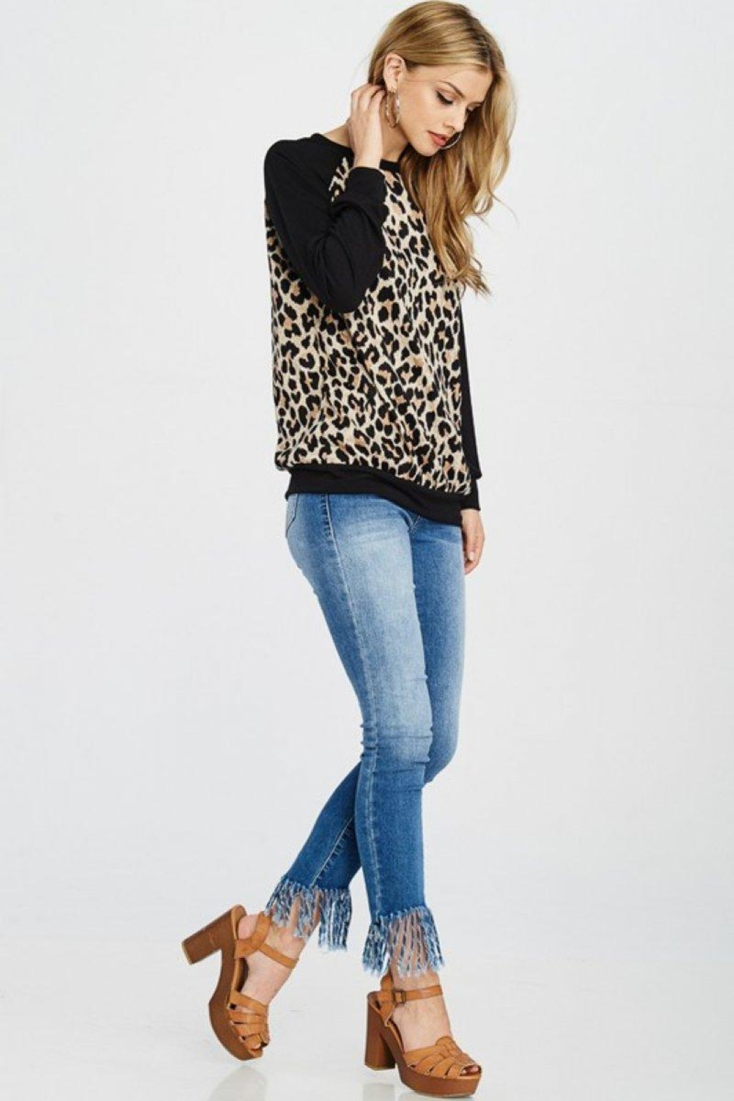 Lovely Melody Animal Print Sweater - Back Cropped Image