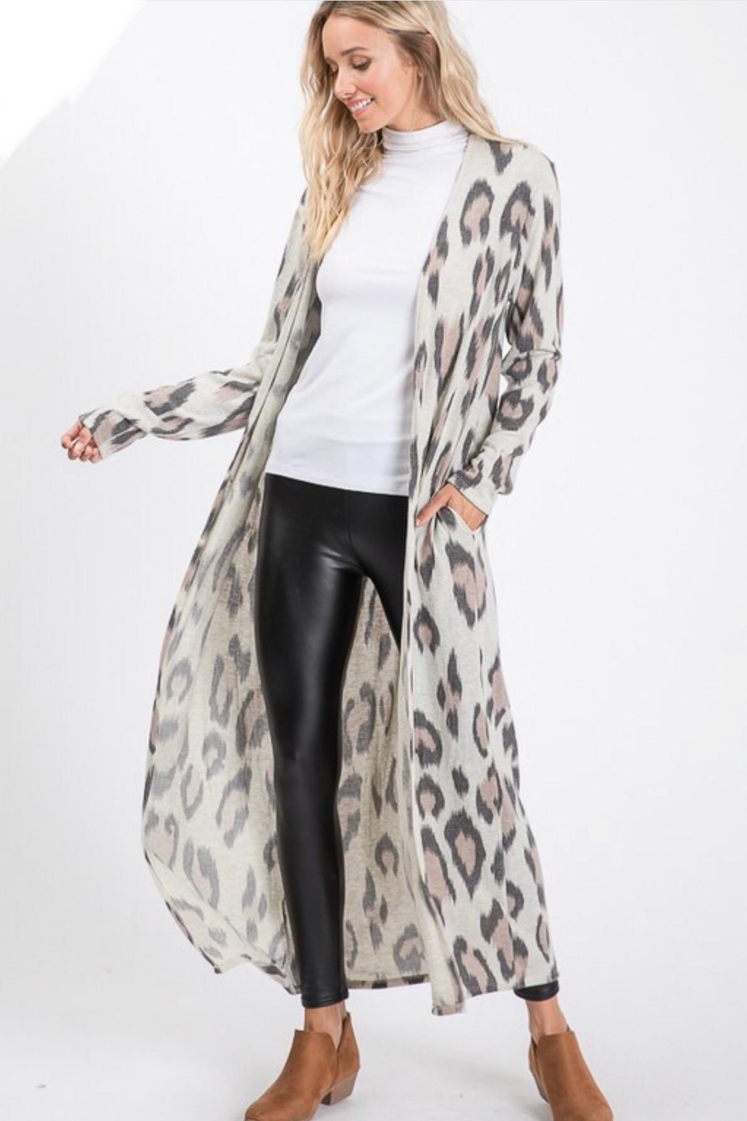 Lovely Melody Cheetah Print Cardigan - Front Full Image