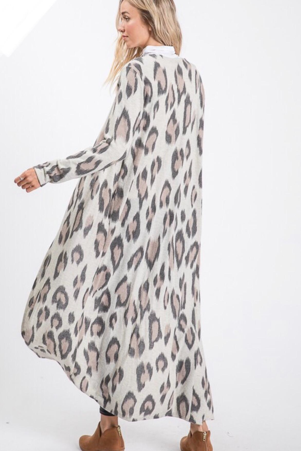 Lovely Melody Cheetah Print Cardigan - Back Cropped Image