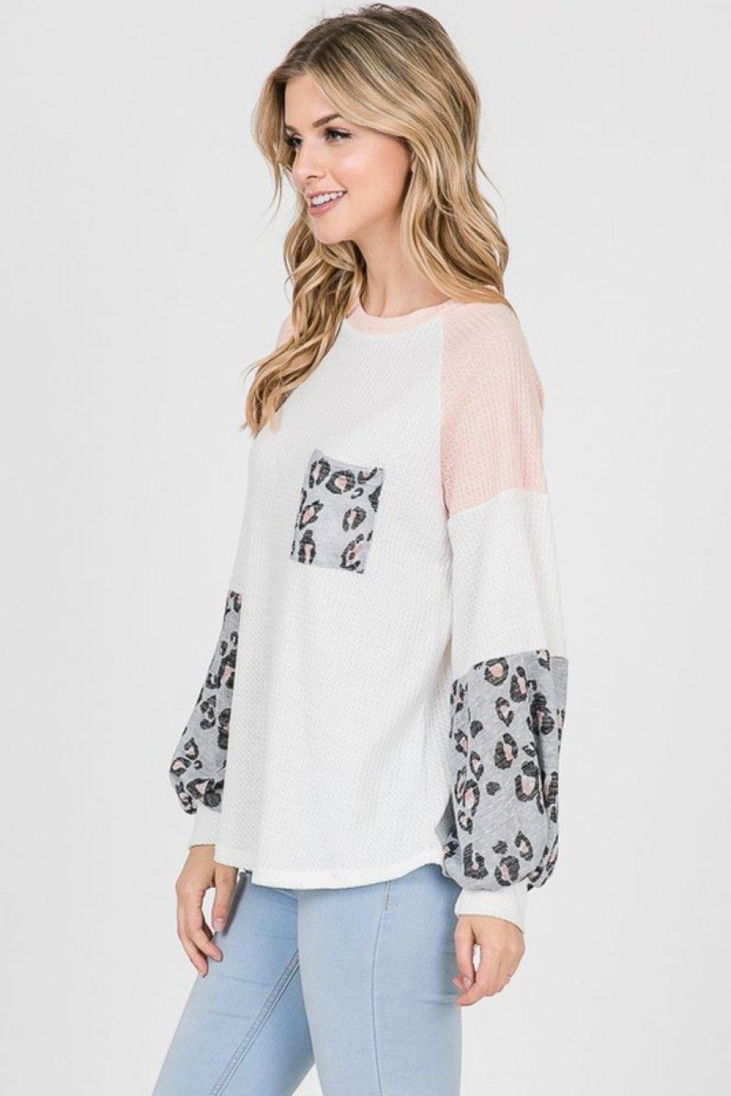 Lovely Melody Colorblock Animal Print Top - Side Cropped Image