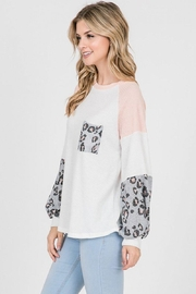 Lovely Melody Colorblock Animal Print Top - Side cropped