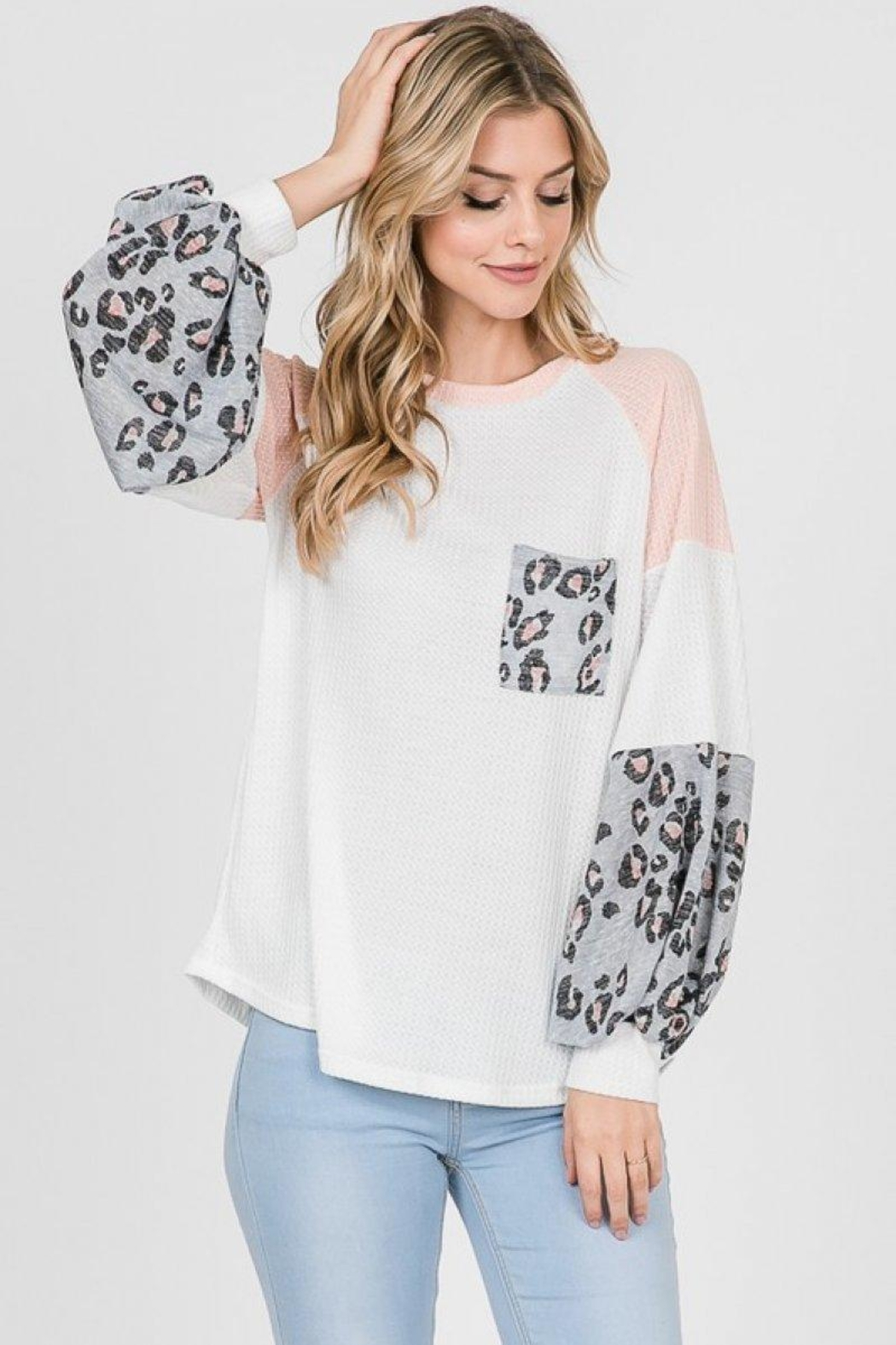 Lovely Melody Colorblock Animal Print Top - Main Image