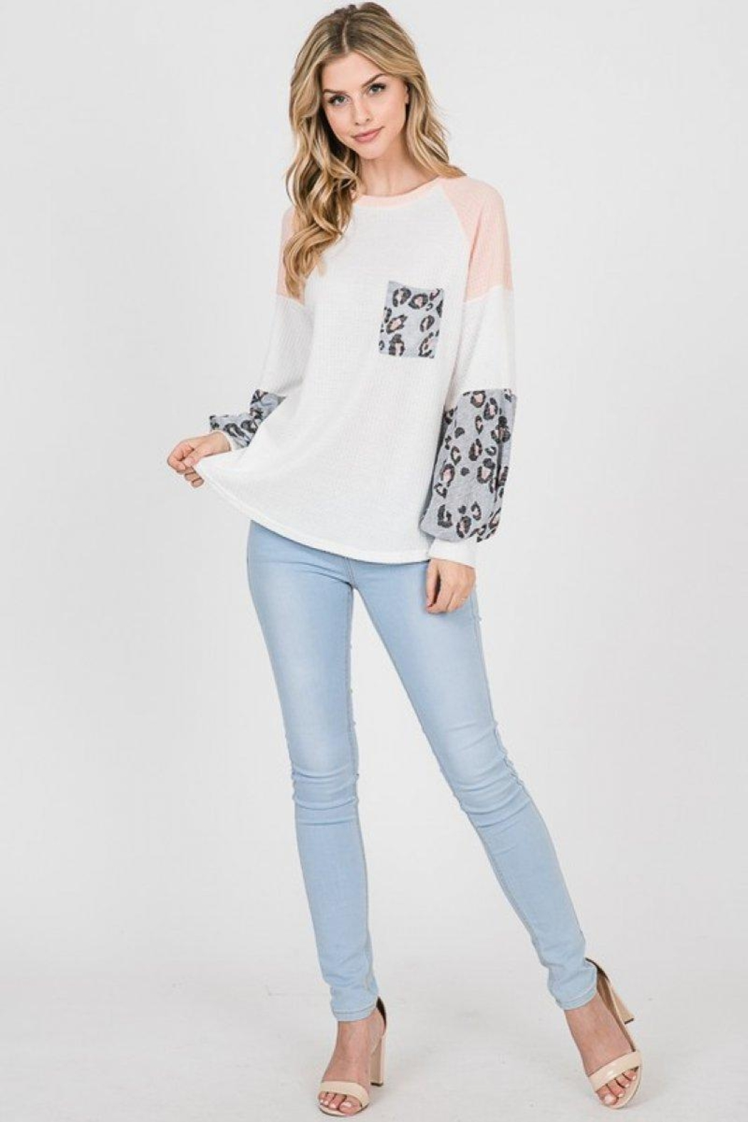 Lovely Melody Colorblock Animal Print Top - Front Full Image