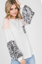 Lovely Melody Colorblock Animal Print Top - Other