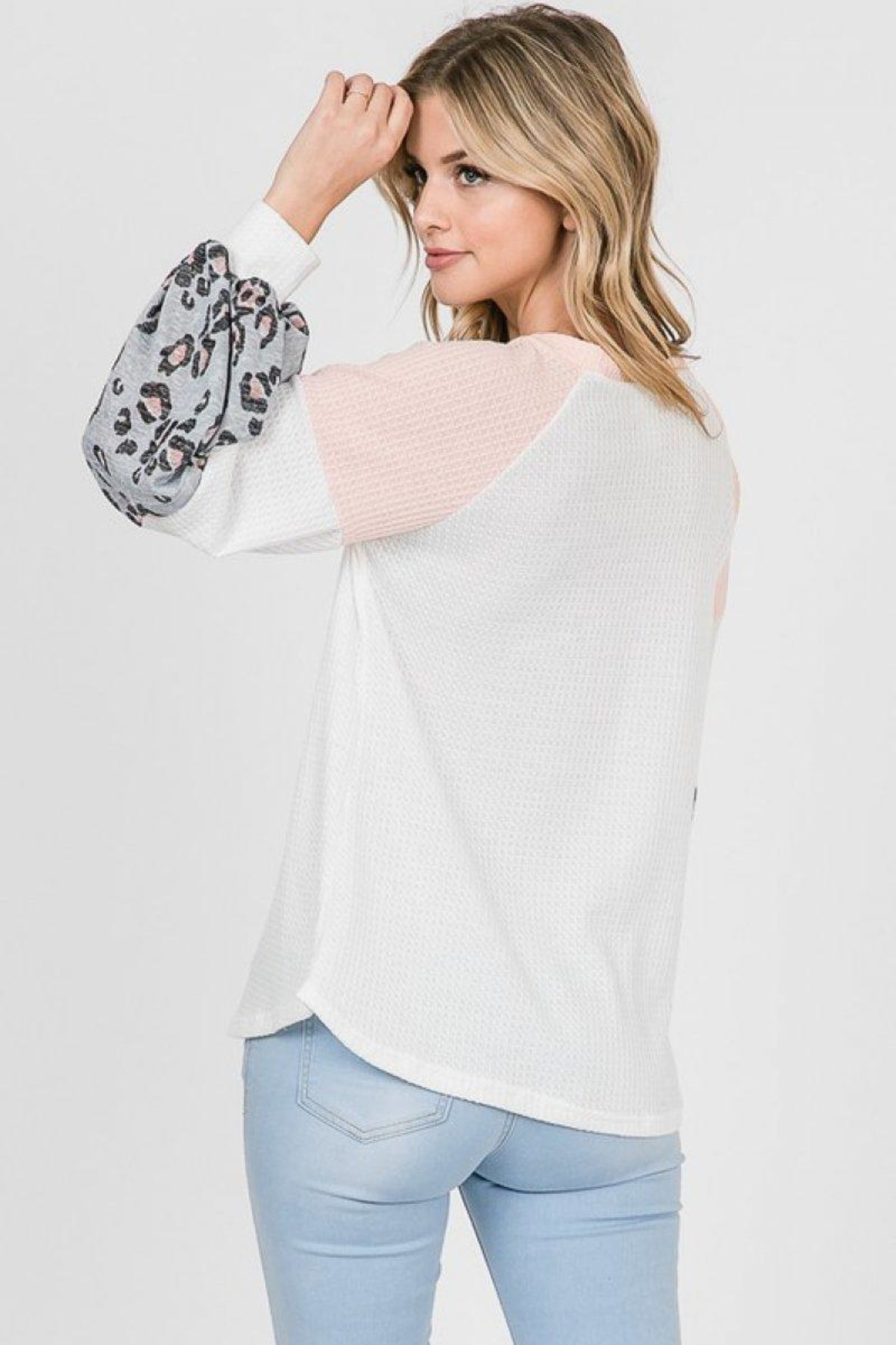 Lovely Melody Colorblock Animal Print Top - Back Cropped Image