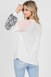 Lovely Melody Colorblock Animal Print Top - Back cropped