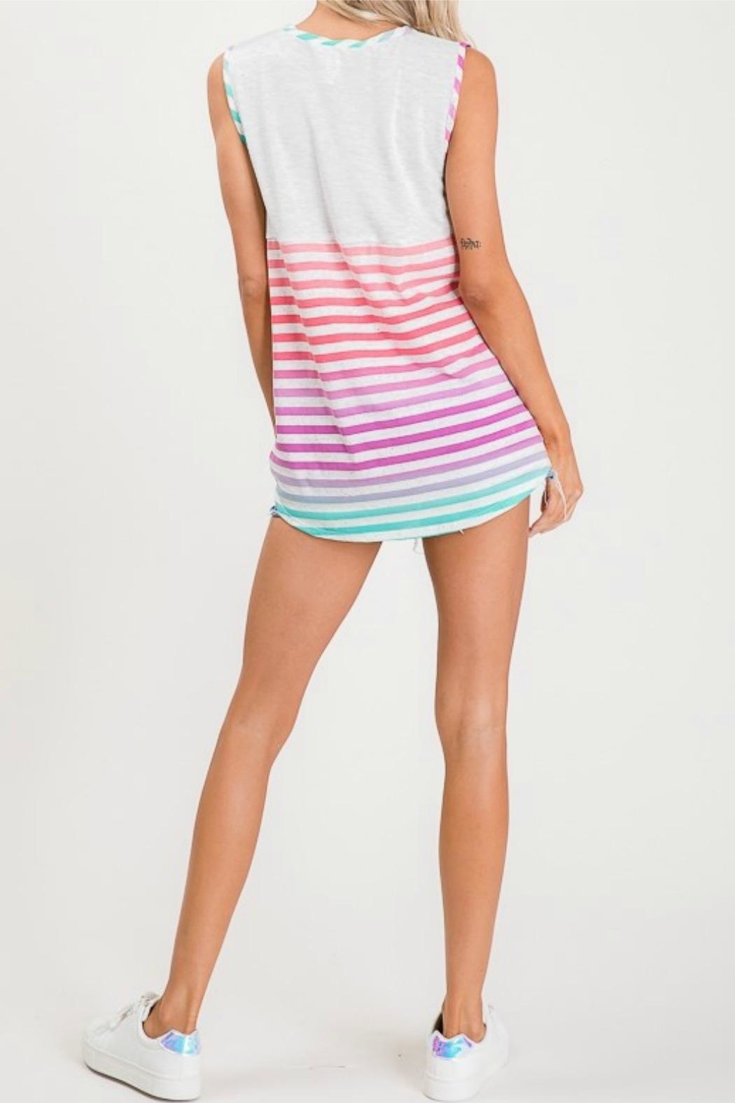 Lovely Melody Multicolor Striped Top - Back Cropped Image