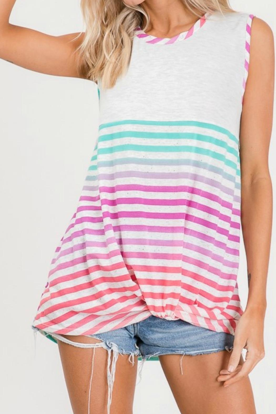 Lovely Melody Multicolor Striped Top - Main Image