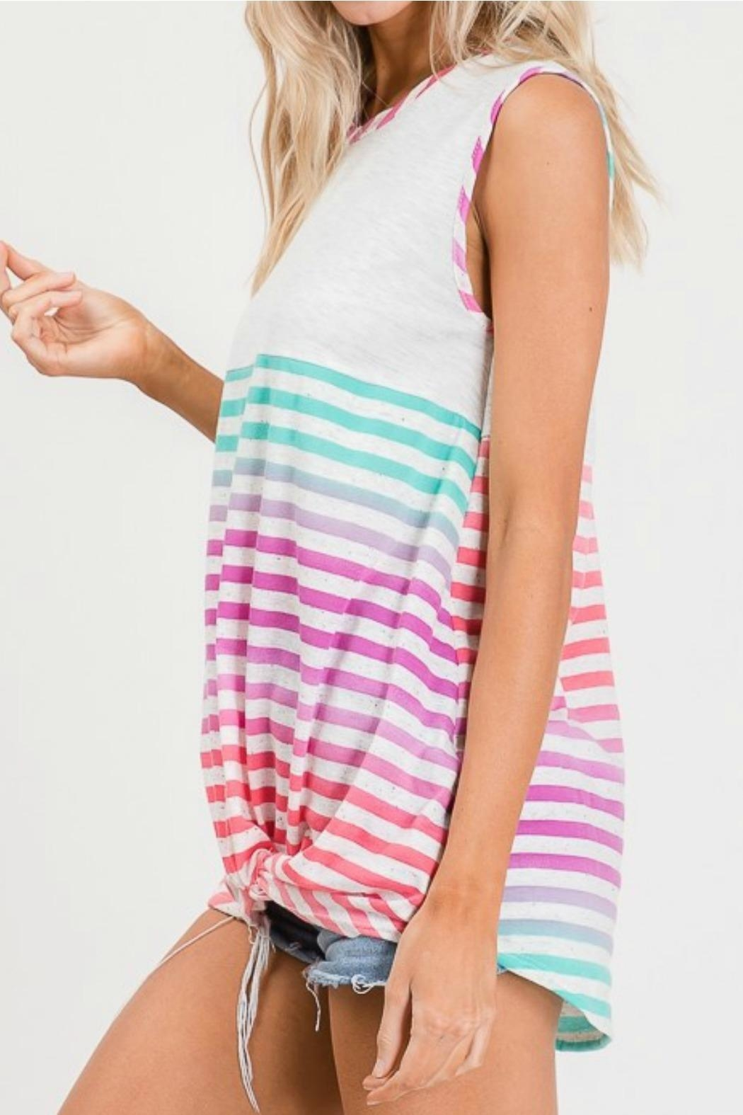 Lovely Melody Multicolor Striped Top - Front Full Image