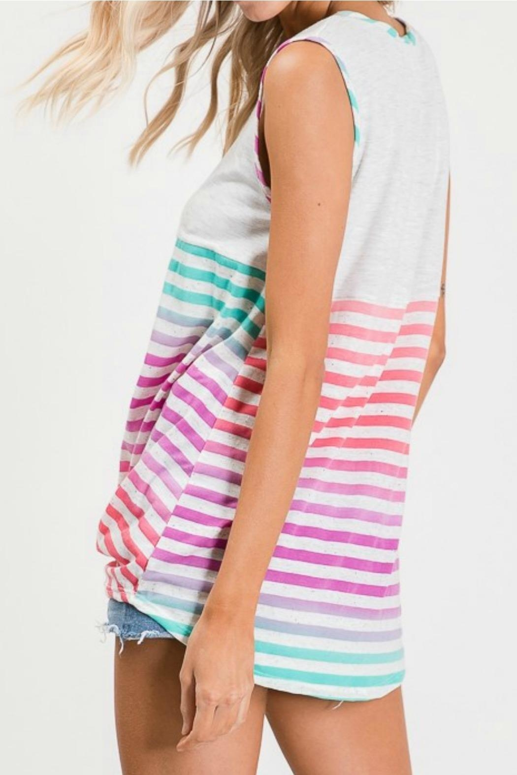 Lovely Melody Multicolor Striped Top - Side Cropped Image
