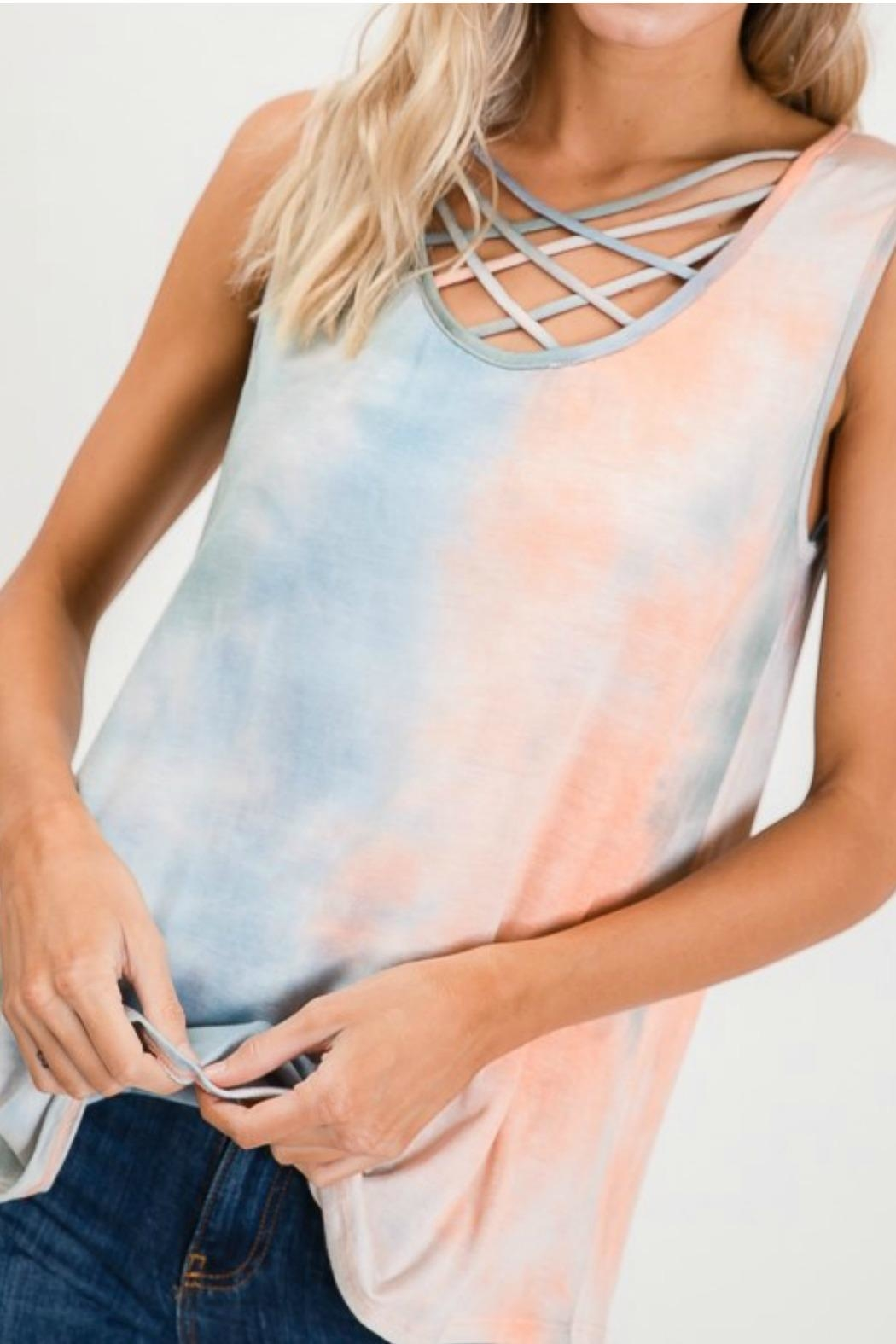 Lovely Melody Tie Dye Tank - Front Cropped Image
