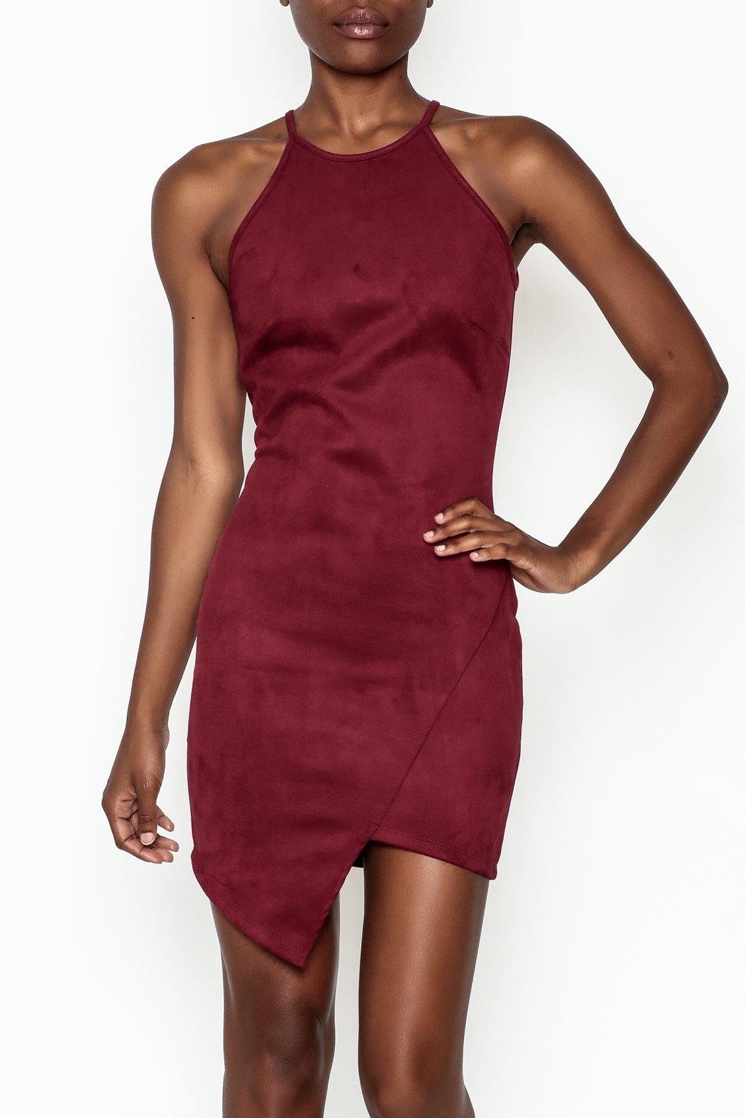 lovelyday Faux Suede Dress - Front Cropped Image
