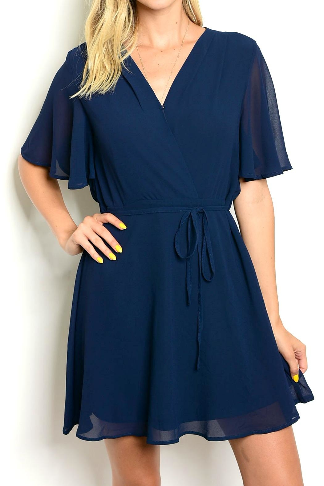LoveRiche Anna Navy Wrap Dress - Main Image