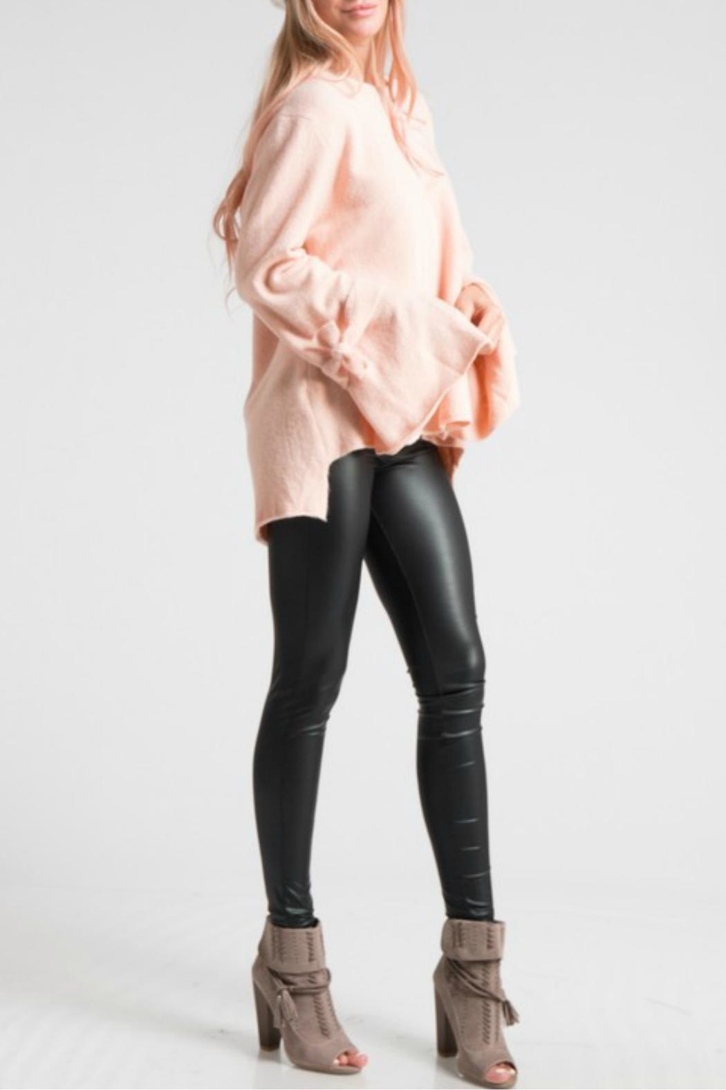 LoveRiche Bell Sleeve Pink Sweater - Side Cropped Image