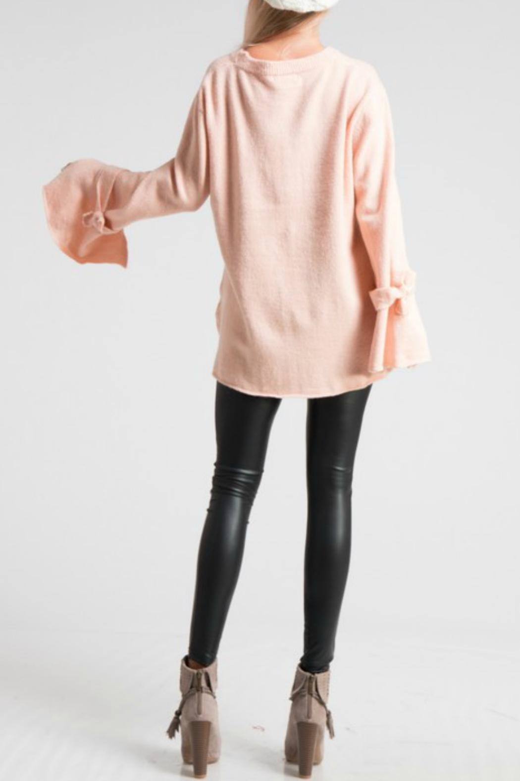 LoveRiche Bell Sleeve Pink Sweater - Back Cropped Image